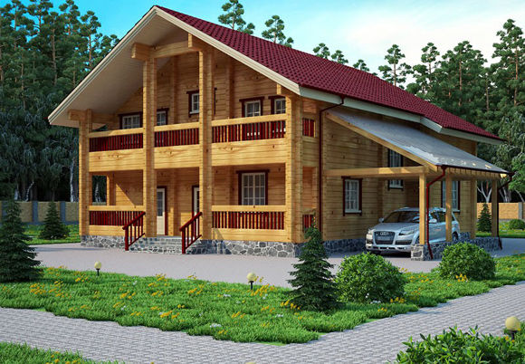 Проект дома из бруса  12,6х14,3 БК-32