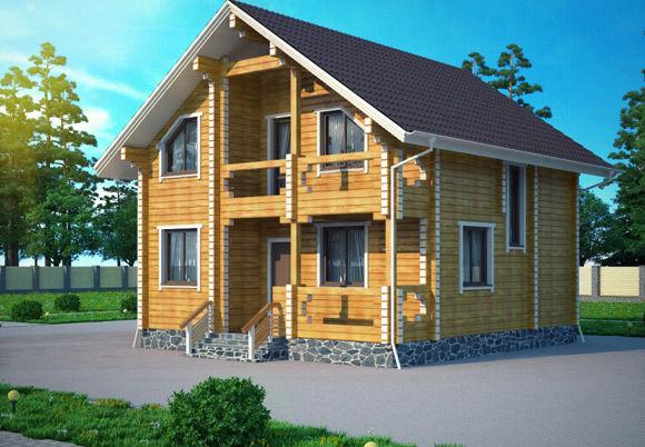 Проект дома из бруса  9,8х9,2 БК-33