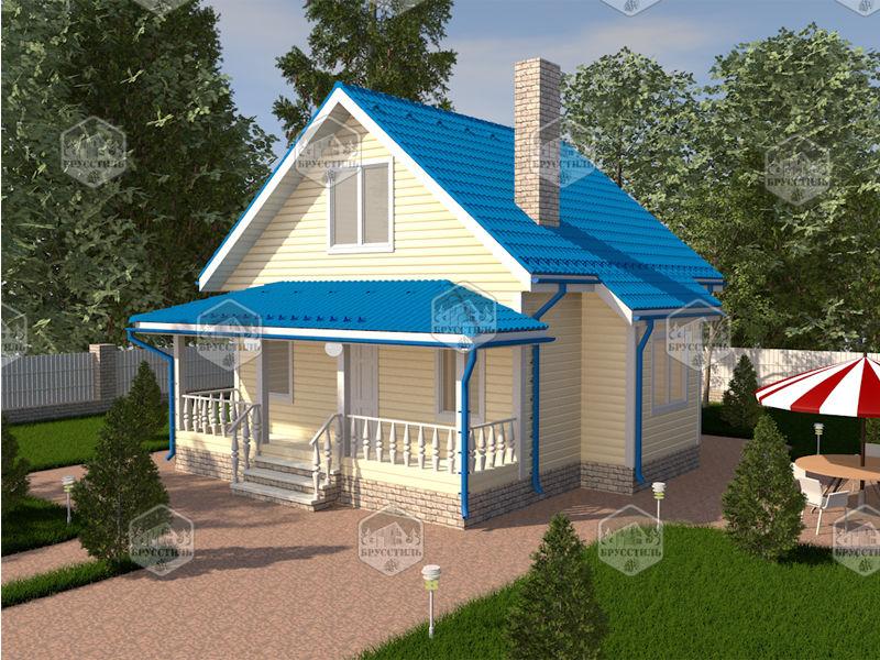 Проект дома из бруса 7х7 MT-2