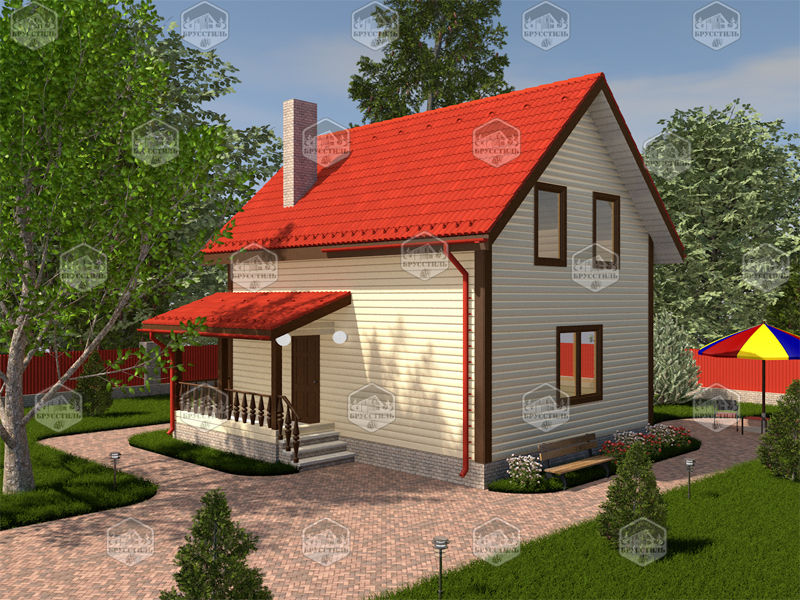 Проект дома из бруса 6х8 MT-3