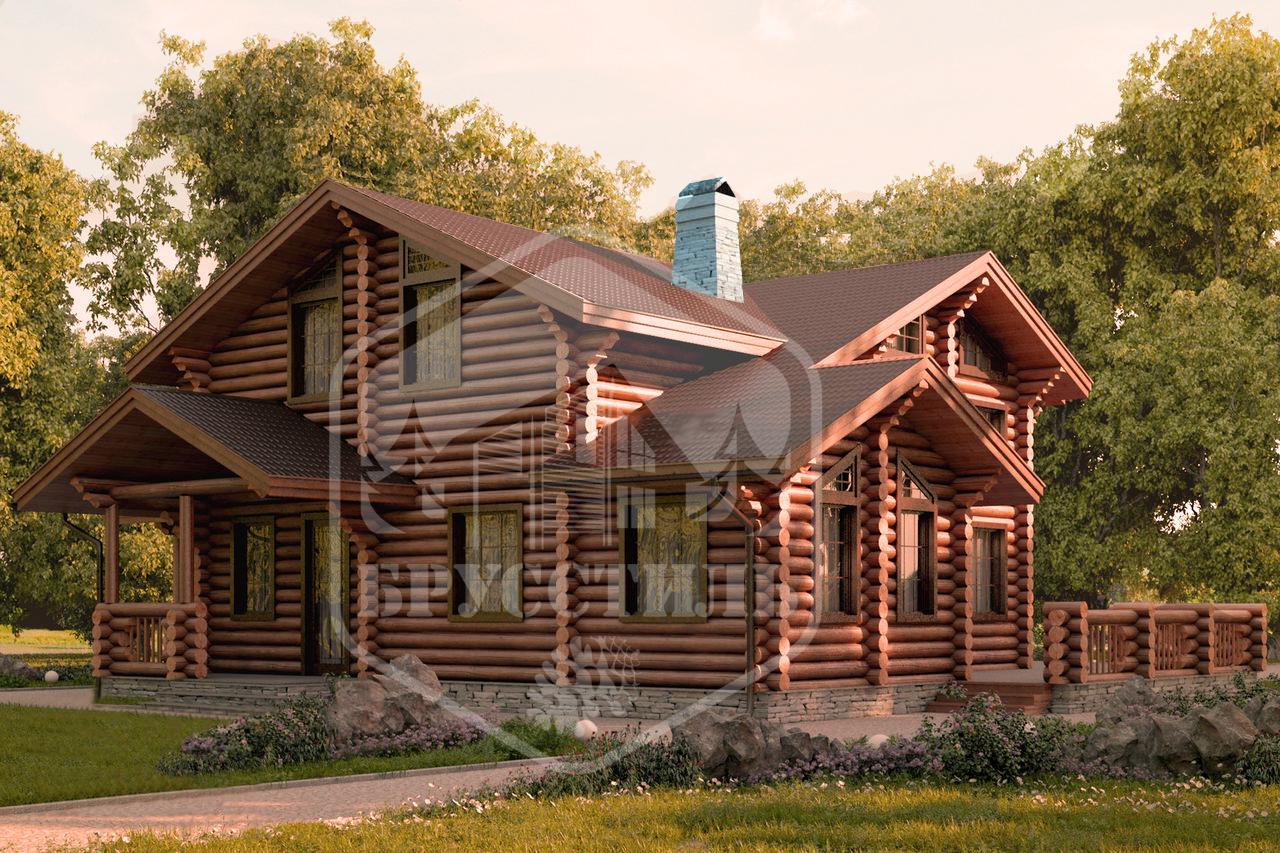 Проект дома из оцилиндрованного бревна  ДОБ-15