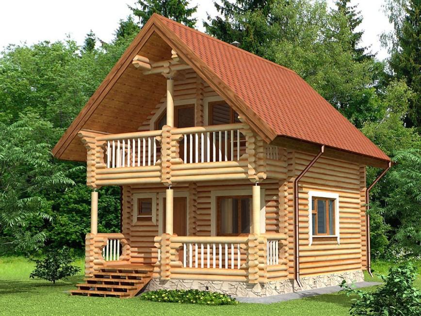 Проект дома из оцилиндрованного бревна 6.9х5.4 ДОБ-016