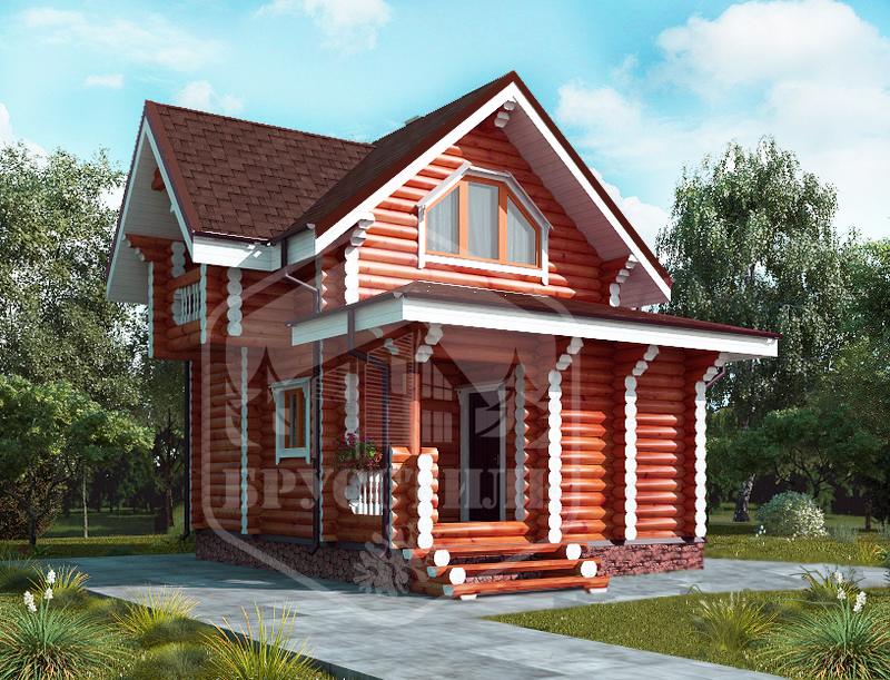 Проект дома из оцилиндрованного бревна 8.4х5.4 ДОБ-022