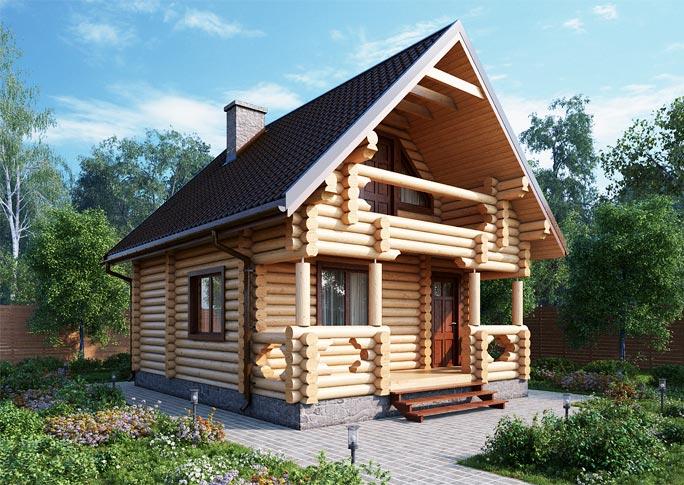 Проект дома из оцилиндрованного бревна 6.9х5.4 ДОБ-017