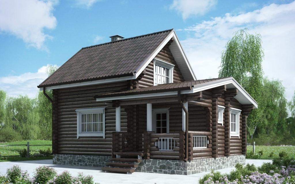 Проект дома из оцилиндрованного бревна 8.1х5.4 ДОБ-020