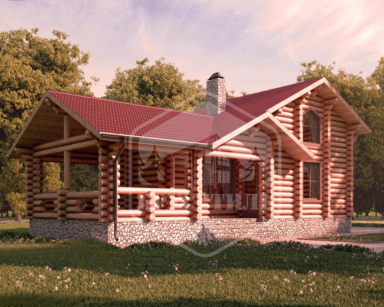 Проект дома из оцилиндрованного бревна 5.4х12.6 ДОБ-014