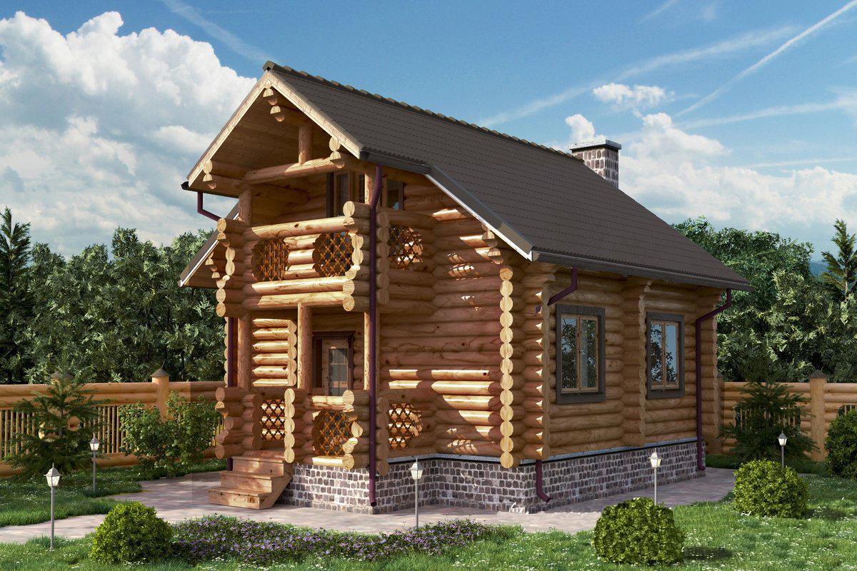 Проект дома из оцилиндрованного бревна 5.4х5.4 ДОБ-021